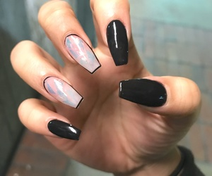 black, chrome, and coffin nails image
