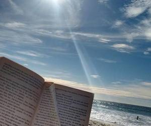 books, sun, and water image