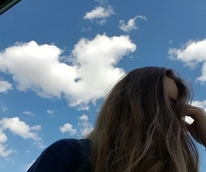 clouds, hair, and sky image