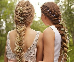 hair, braids, and flowers image