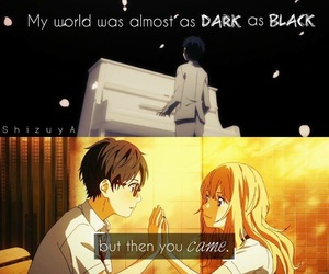 anime, couple, and dark image
