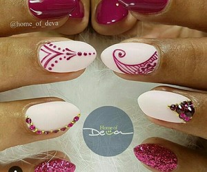 burgundy, manicure, and pink image
