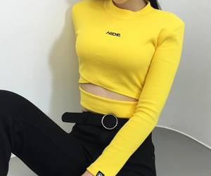 yellow, fashion, and black image