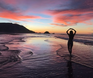 atardecer, beach, and travel image