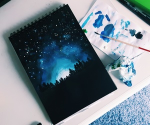 art, blue, and stars image
