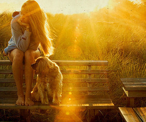 girl, dog, and sun image