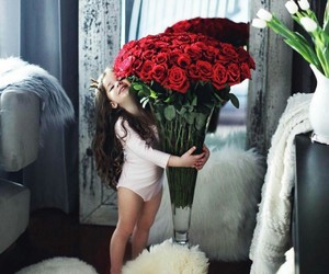 girl, cute, and rose image