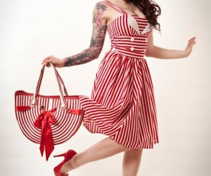 dress, red, and rockabilly image