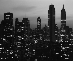 city, light, and black and white image