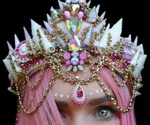 crown, mermaid, and pink image
