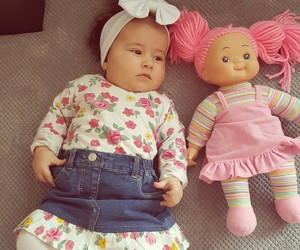 baby girl, doll, and bow image