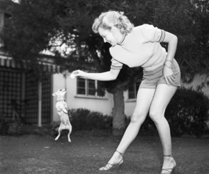 Marilyn Monroe, dog, and black and white image