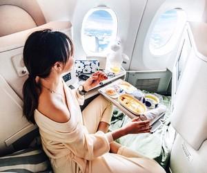 girl, plane, and theme image
