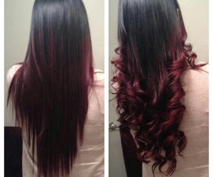 beautiful hair, red highlights, and color hair image