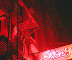 red, city, and grunge image