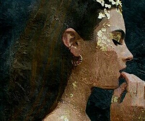 girl, gold, and beauty image