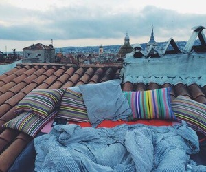roof, city, and bed image