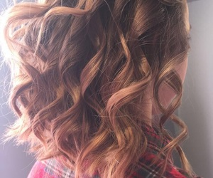 brunette, curly hair, and hair image