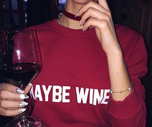 aesthetic, girl, and red wine image
