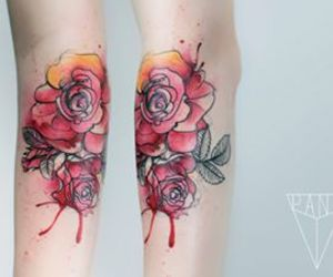 watercolor tattoo, ink, and roses image