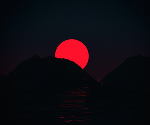 red, aesthetic, and moon image