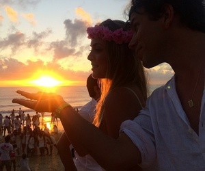 beach, couple, and flower crown image