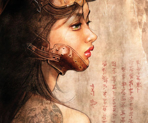 girl, steampunk, and mouth guard image