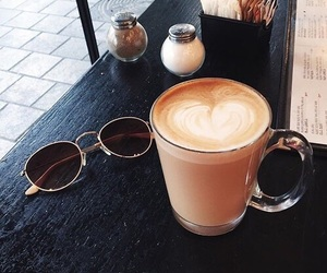 coffe, latte, and sunglasses image