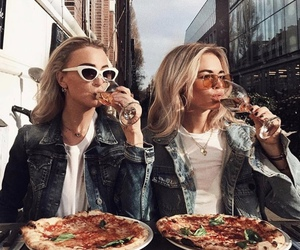 food, beauties, and pizza image