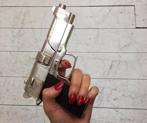 gun, hand, and red image