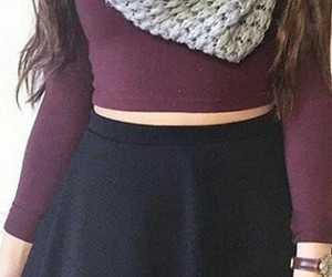 black skirt, grey scarf, and clothes image