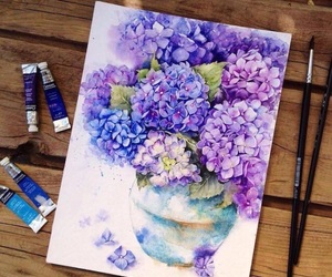 floral, painting, and spring image