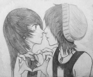 love, emo, and drawing image