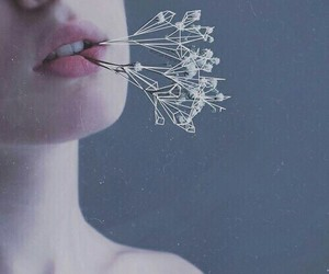 flowers, grunge, and lips image