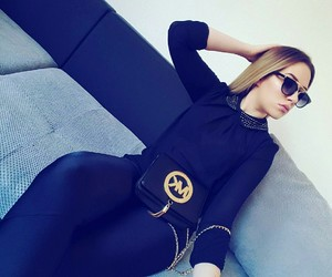 blonde, all black, and Michael Kors image