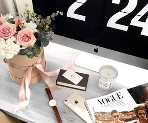 bouquet, candle, and desk image