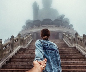 couple, hong kong, and travel image