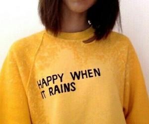 yellow, rain, and happy image