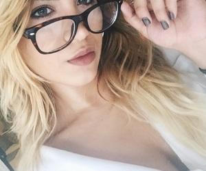 eyes, glasses, and lips image