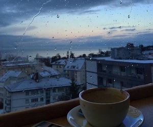 coffee, rain, and sky image