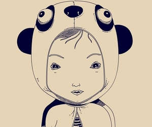 drawing, panda, and illustration image