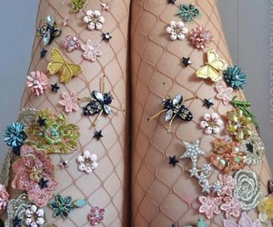 flowers, style, and tights image