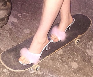 pink, skateboard, and shoes image