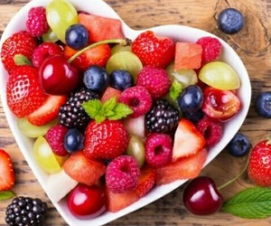 fruit, heart, and strawberry image