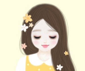 animals, beauty girl, and flowers image