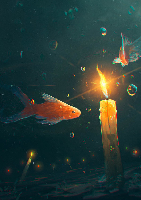 art, fish, and candle image