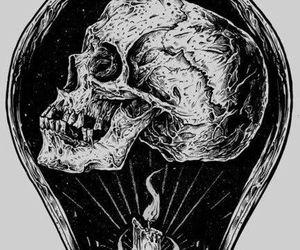 skull, black and white, and light image