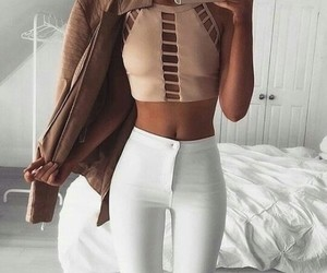 brown, fashion, and white jeans image