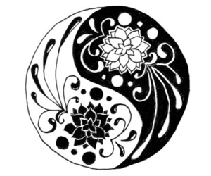 flowers and yin yang image