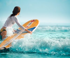 girl, surfing, and summer image